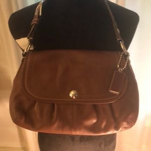 Coach NWT Brown Leather Soho Pleated Legacy Flap